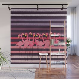 FUN STRIPES WITH FLAMINGOS Wall Mural