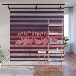 FUN STRIPES WITH FLAMINGOS Wall Mural