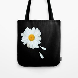 Love Me - Love Me Not - White Daisy on Black Background #decor #society6 #buyart Tote Bag