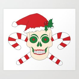 Creepy Christmas Santa Skull Art Print