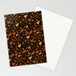 Autumn Leaves and Ladybugs Pattern Dark Stationery Cards