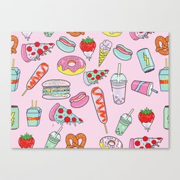 Pastel Junk Food Canvas Print
