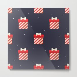 Red Christmas Gift Pattern Metal Print