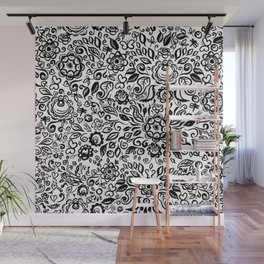Vintage folk art floral ornament Black flowers on white background Wall Mural