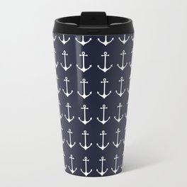 Nautical navy blue white modern anchor pattern Travel Mug