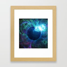 Abstract colorful shiny print graphic with planet space Framed Art Print