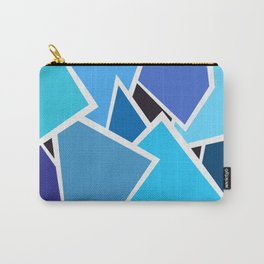 Retro Blue Mid-Century Vintage Minimalist Geometric Line Abstract Art Carry-All Pouch