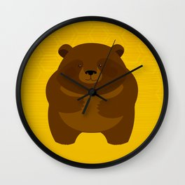 Bees and Bear by Friztin Wall Clock