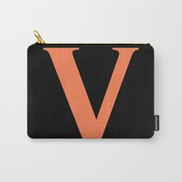 V MONOGRAM (CORAL & BLACK) Carry-All Pouch