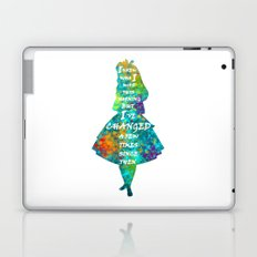 Alice In Wonderland - Quote - Colorful Watercolor White Text Laptop & iPad Skin