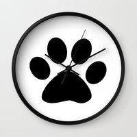 furry Wall Clocks featuring Furry Paw by Red Tree Arts
