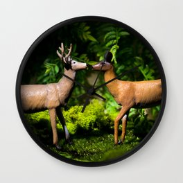 Deer Kissing In the Forest Wall Clock
