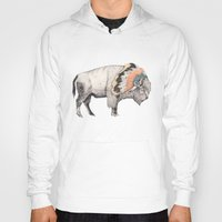 bison Hoodies featuring White Bison by Sandra Dieckmann