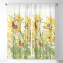 One sunflower watercolor arts Sheer Curtain