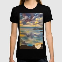 Life Boat, Cloudy Sky, Lake Sky, Beautiful Lake Sunset, Blue and Yellow Sky T-shirt