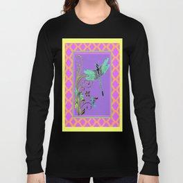 Ornate Blue Dragonflies Pink-Yellow-Purple Lattice Pattern Long Sleeve T-shirt