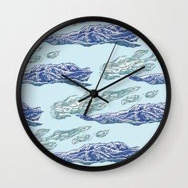 Mt. Craiului-Distant Snow- 遠雪 : linocut Wall Clock
