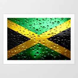 Flag of Jamaica - Raindrops Art Print