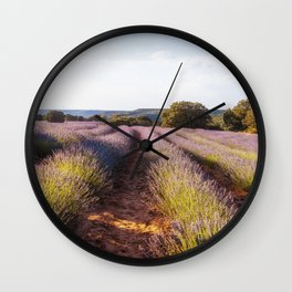 Lavender Fields at Sunset Wall Clock
