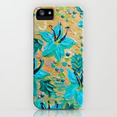 BLOOMING BEAUTIFUL - Modern Abstract Acrylic Tropical Floral Painting, Home Decor Gift for Her Slim Case iPhone (5, 5s)