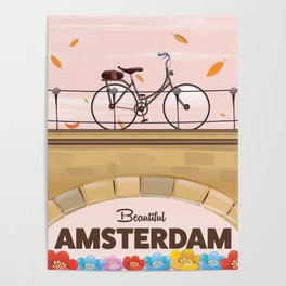 Amsterdam Holland Bicycle travel poster. Poster