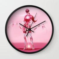 power ranger Wall Clocks featuring Pink Ranger by Isaiah K. Stephens