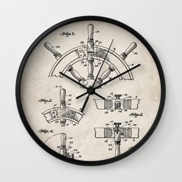 Ships Wheel Patent - Boat Wheel Art - Antique Wall Clock