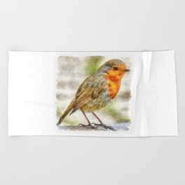 Christmas Robin Winter Watercolor Beach Towel