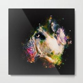 english bulldog dog splatter watercolor Metal Print