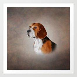 Drawing Dog Beagle 12 Art Print
