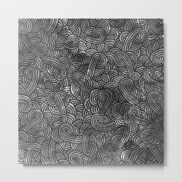 Grey and black swirls doodles Metal Print