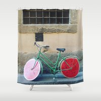 florence Shower Curtains featuring Watermelon Bicycle in Florence by FranArt