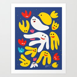 Yellow Bird and Friends in the Night Illustration for Kids  Art Print