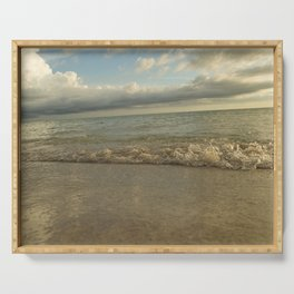 Bradenton Florida Beach at Sunset with Waves Serving Tray