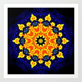 Yellow Orange Floral Madala  Background Dark Blue Art Print