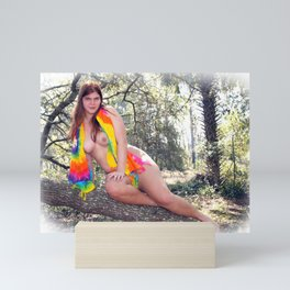 Nude Woman Outdoors with Colorful Sarong Mini Art Print