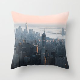 Pink skies over Manhattan NYC Throw Pillow