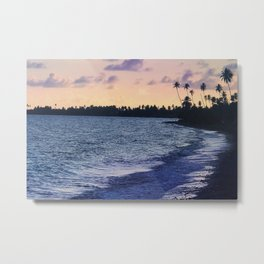 Tropical Beach Peaceful - Sunset Clouds and Palm-trees Metal Print