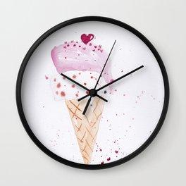 Ice cream Love watercolor illustration summer love pink strawberry Wall Clock