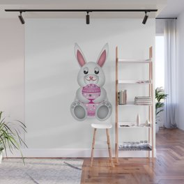 Easter bunny with pink egg Wall Mural