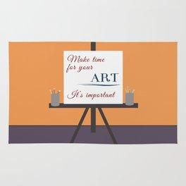 Make Time For Art (Colorful Calligraphy) Rug