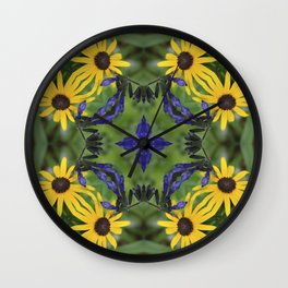 Blue Salvia Compass Points in a Ring of Rudbeckia Wall Clock
