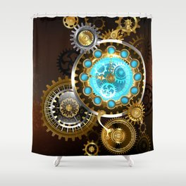 Unusual Clock with Gears ( Steampunk ) Shower Curtain