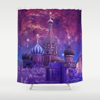moscow Shower Curtains featuring Hipsterland - Moscow by Alejo Malia