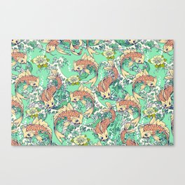 Golden Koi Fish in Pond Canvas Print