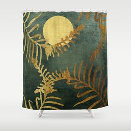 Golden Cycas leaves on dark green canvas Shower Curtain