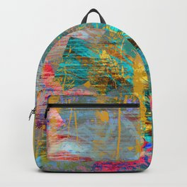 Abstract Gold Streaks on Pink and Turquoise Backpack