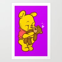 pooh Art Prints featuring Pooh And Teddy by Artistic Dyslexia
