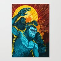 planet of the apes Canvas Prints featuring Dawn Of The Planet Of The Apes by KD Artwork