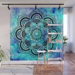 Galaxy Mandala Aqua Indigo Wall Mural